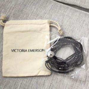 VICTORIA EMERSON Diamond Rough Wrap Bracelet Black
